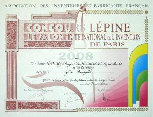 MÉDAILLE D'ARGENT AU CONCOURS LÉPINE 2008 :